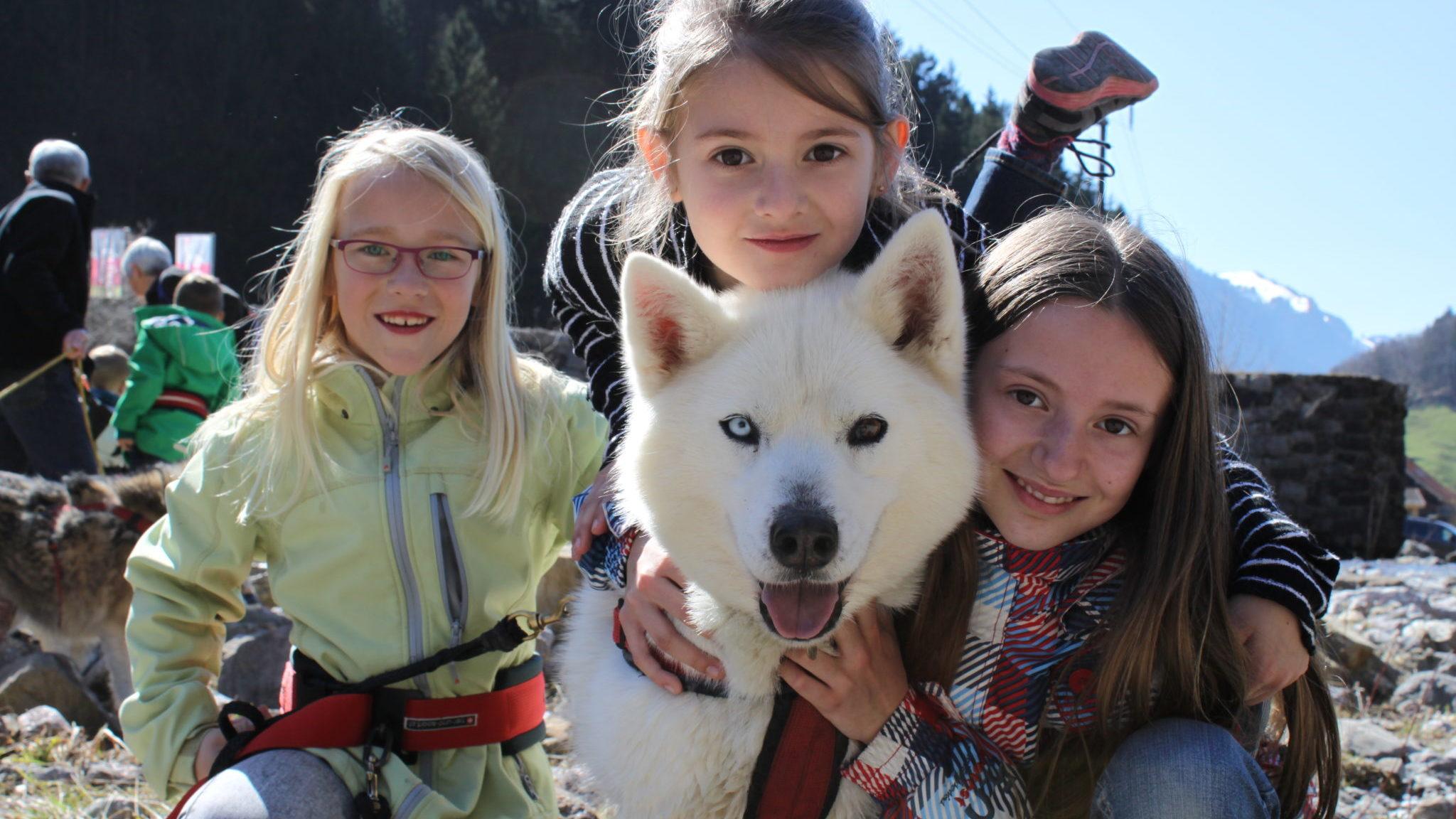 Huksy_Schlittenhunde und Kinder im Muotatal